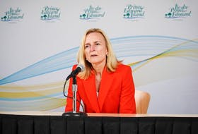 Dr. Heather Morrison, pictured here speaking at a March 27 briefing, has won the admiration of Islanders through her decisive action and calm demeanour tackling the pandemic.
