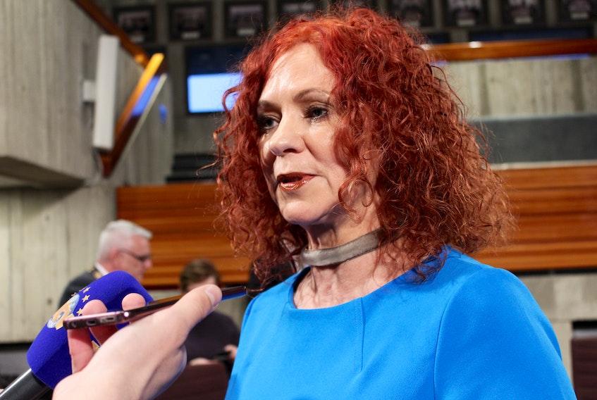 Coun. Debbie Hanlon presented a petition from Duckworth Street residents at council Monday evening. JUANITA MERCER/THE TELEGRAM