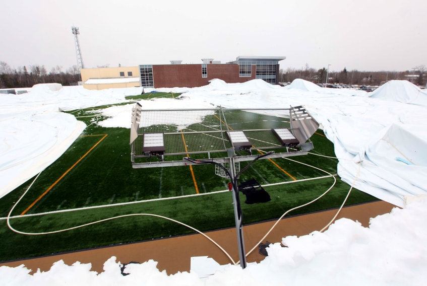The Nov. 30, 2019—East Hants Sportsplex bubble has collapsed again, likely due to the weight of snow. ERIC WYNNE/Chronicle Herald