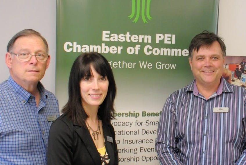 <span>A new logo for the eastern P.E.I. chamber of commerce was unveiled recently. Logo designer Michael Shumate, left, is joined by chamber directors Starla Wilson and Alan MacPhee.</span>