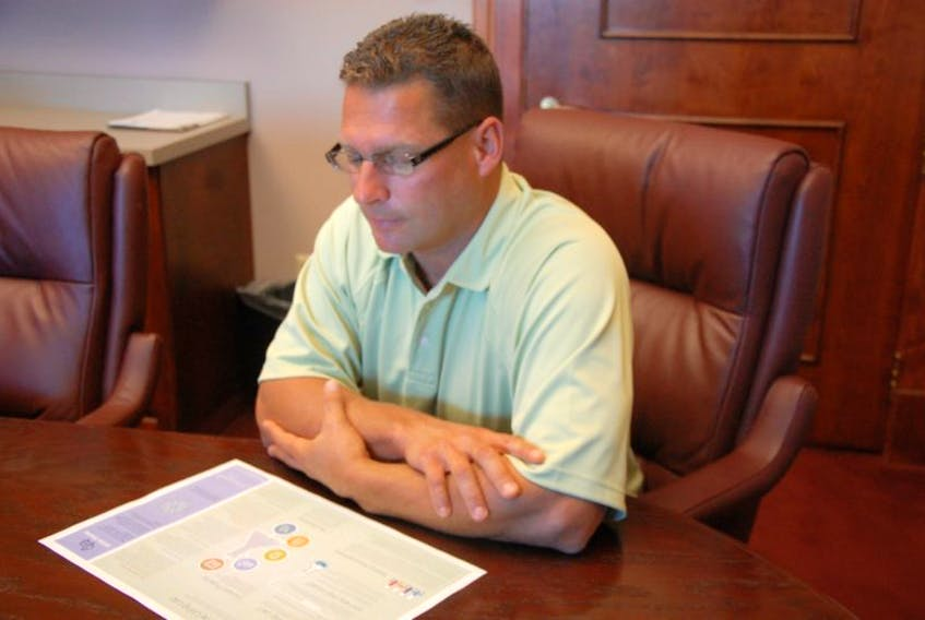 <p>Summerside economic development director, Mike Thususka, looks over an outline on the city's long-term plan for development. Part of that plan includes and eco industrial park which is under development.</p>