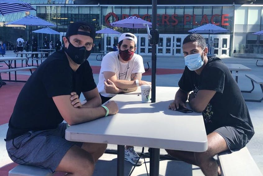 Calgary Flames Mikael Backlund, Erik Gustafsson and Oliver Kylington on Monday July 27, 2020 inside the NHL bubble in Edmonton. The Flames Will take on Winnipeg Jets in 2020 Stanley Cup Playoffs starting August 1st.