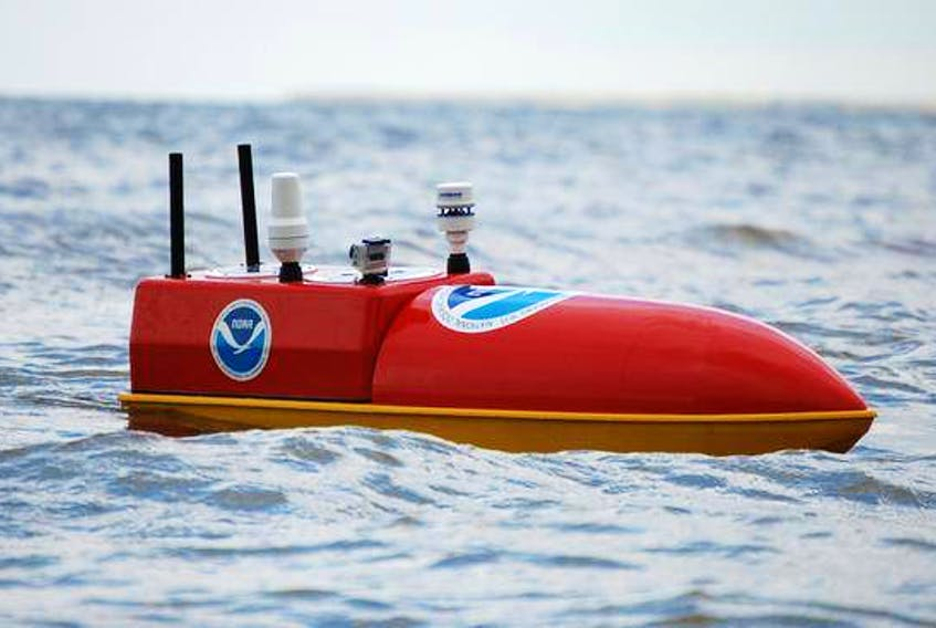 Emily is one of a new class of ocean-going drones designed for gathering weather data.  (HYDRONALEX)