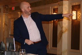 Newfoundland Aquaculture Industry Association executive director Mark Lane was the guest speaker for the Burin Peninsula Chamber of Commerce's annual general meeting in Marystown on Thursday, March 5. — PAUL HERRIDGE/THE SOUTHERN GAZETTE