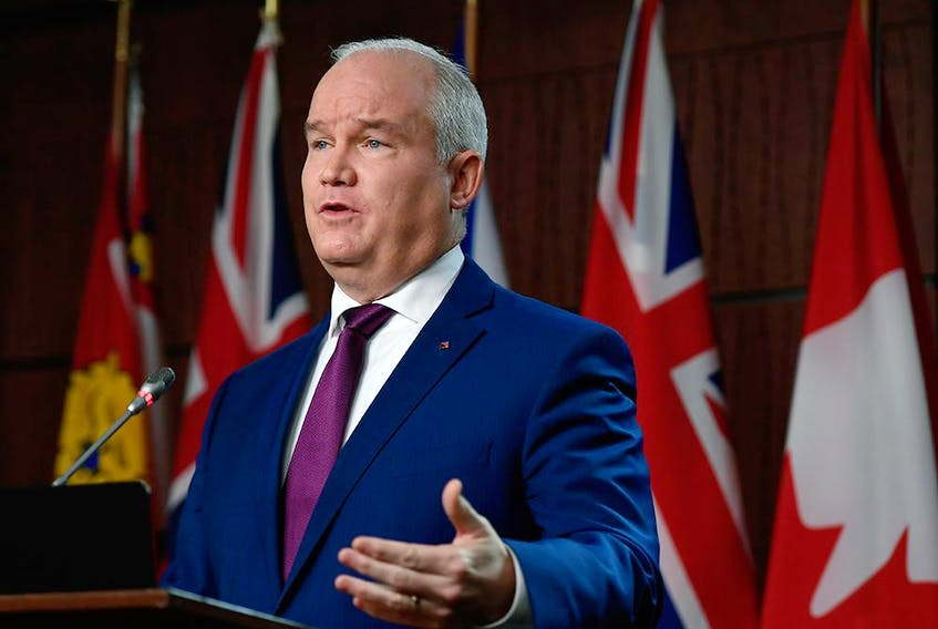 Conservative Leader Erin O'Toole speaks to the media on Parliament Hill in Ottawa, on Dec. 3, 2020.