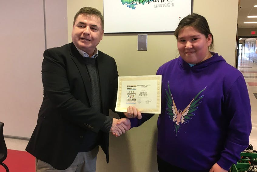 Rankin School of the Narrows student Noreen Stevens, right, is shown with Tex Marshall, president of the 2020 North American Indigenous Games. Stevens was recently named as one of eight finalists in a medal design competition for the tournament taking place July 12-18 in Halifax. CONTRIBUTED