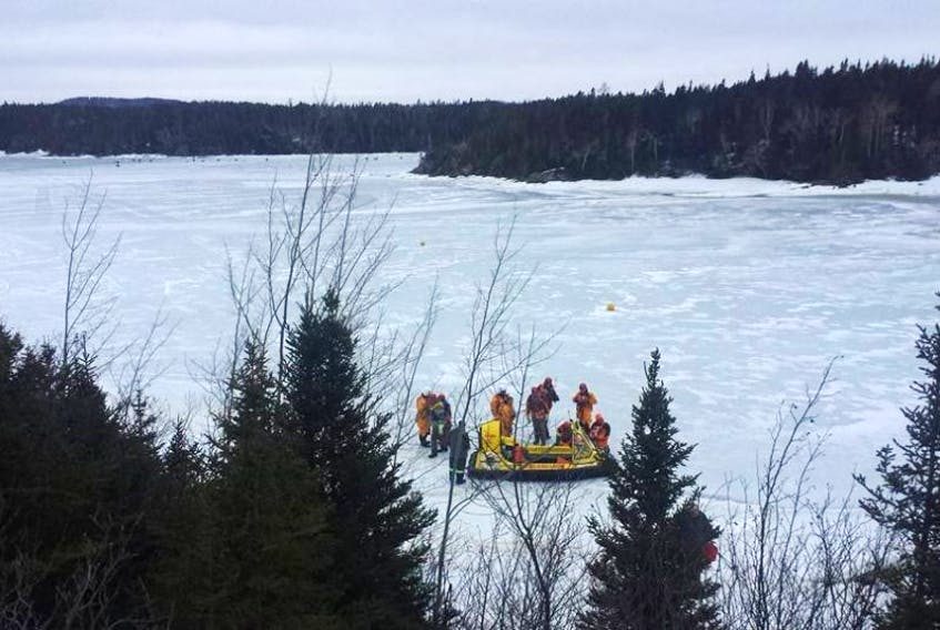 Exploits Search and Rescue utilized a hovercraft and underwater video equipment to search for the missing man from Norris Arm yesterday in the area of Charles Arm.