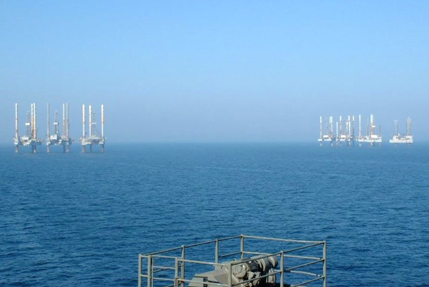 A coalition representing the seafood industry, environmentalists and others welcomes the federal government's decision to extend the moratorium on oil and gas activity on Georges Bank. (This is an image of oil rigs in the Gulf of Mexico.)