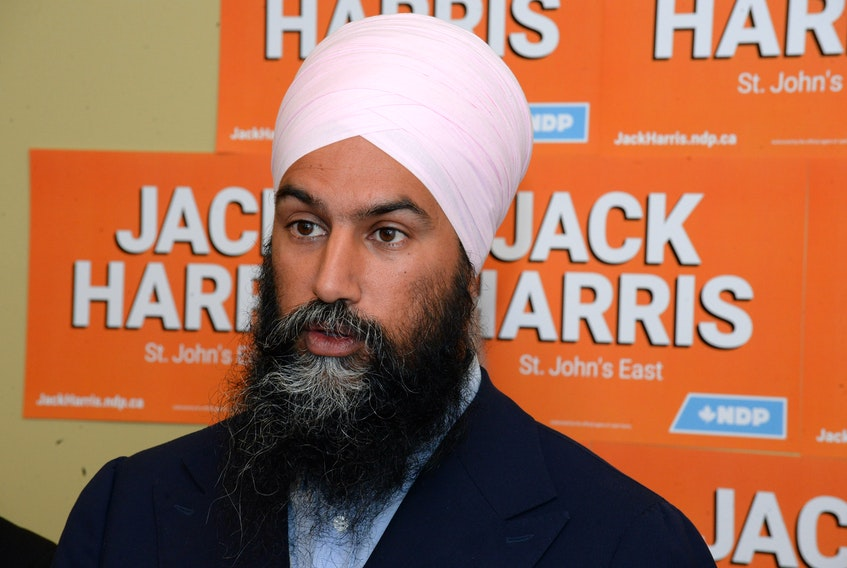 SHOT 03 SEPTEMBER 2019 JOE GIBBONS/The Telegram Federal New Democratic Party Jagmeet Singh, pictured in St. John's during the 2019 federal election campaign, wonders if now is the time to implement a guaranteed basic income in Canada.