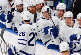 The Toronto Maple Leafs celebrate forward Jimmy Vesey goal during a recent game. The Leafs are the class of the North Division, writes columnist Fred (Fiddler) MacDonald.
