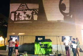 """A rehearsal of the shadow puppet play, :The Kraken,"""" written by Darren Ivany. The live drive-in performance will happen today as part of the St. John's Short Play Festival. - Submitted photo"""