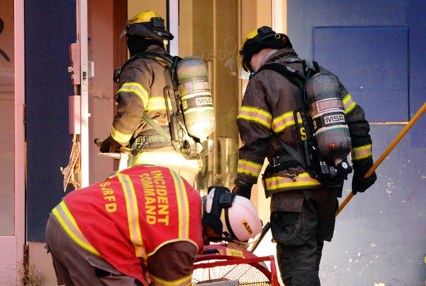 Firefighters were called out to a fire at one of their old fire stations Monday evening. Keith Gosse/The Telegram