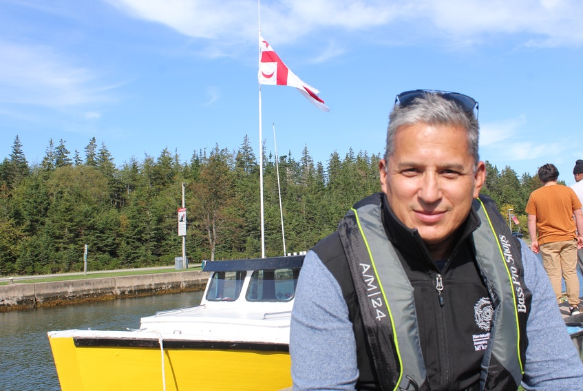 Chief Wilbert Marshall on the docks as Potlotek First Nation launched its moderate livelihood fishery in October 2020. He says he has no intention of complying with DFO's new regulations that limit First Nation's treaty rights. FILE
