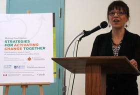 Dr. Patricia Williams, director of The Food Research Action Centre at Mount Saint Vincent University, speaks at the Nov. 6 release of a new report on community food security in Nova Scotia.