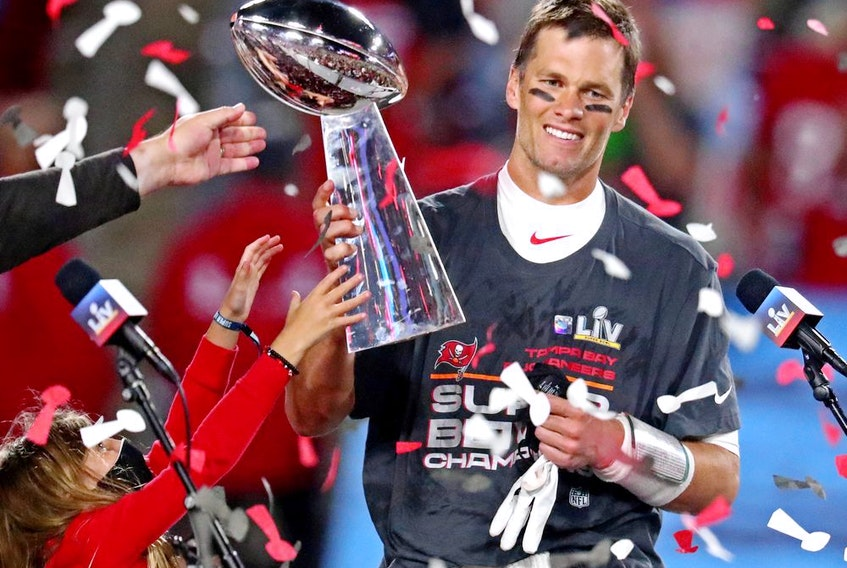 Quarterback Tom Brady won his record seventh Super Bowl Sunday night and was named MVP for the fifth time when he led the Tampa Bay Buccaneers to a 31-9 victory over the Kansas City Chiefs.