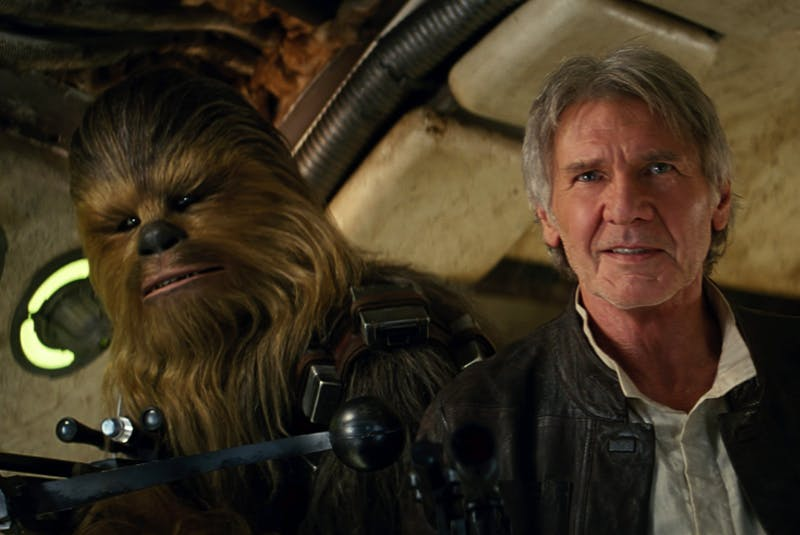 Chewbacca and Han Solo (Harrison Ford) in a scene from Star Wars Episode VII: The Force Awakens. Lucasfilm/via Postmedia - Contributed