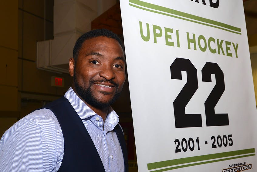 Joel Ward, who played hockey for the UPEI Panthers from 2001-02 to 2004-05, had a banner with his name and jersey number on it raised at MacLauchlan Arena in 2016.