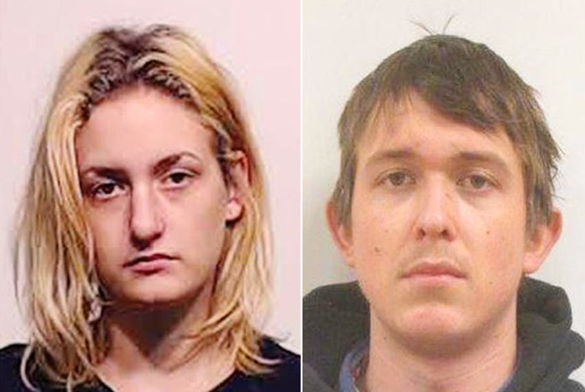 Bre-Anne Buhler, left, and Kael Svendsen, right, pictured in police mugshots, filed matching lawsuits last week in B.C. Supreme Court in Penticton.