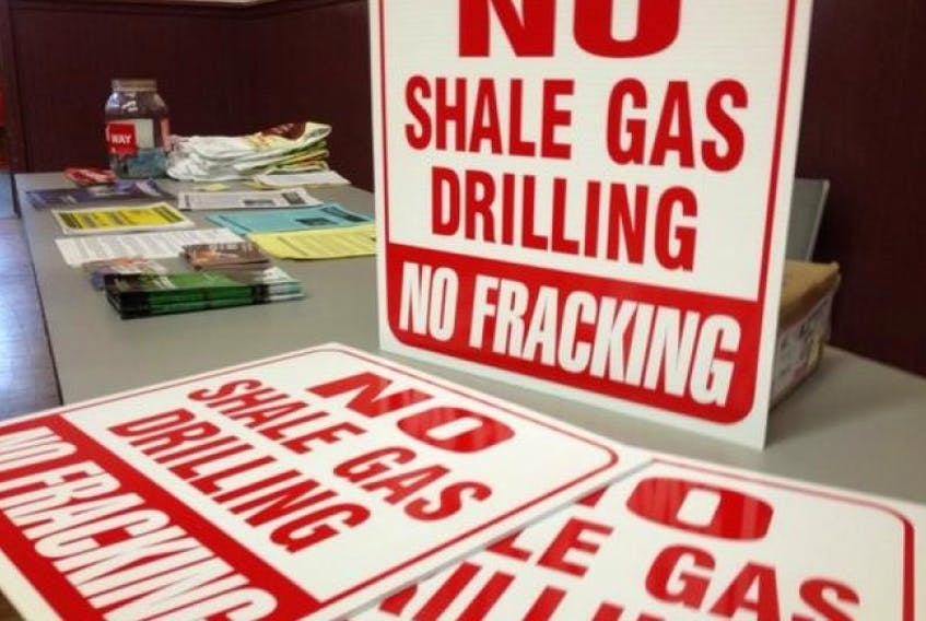 These signs of protest were on display at the July public information session on fracking in Windsor.
