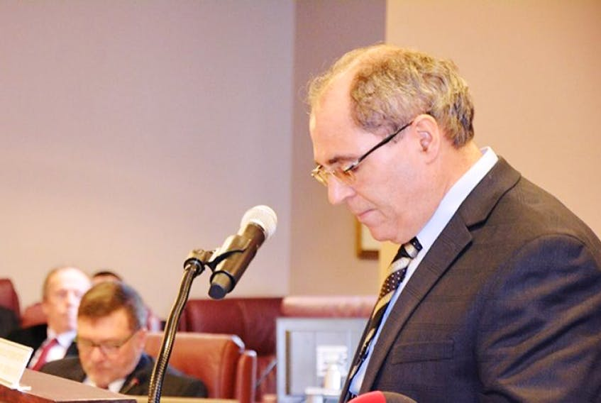 Finance Chairman Frank Costa delivering the 2016 budget address for the City of Summerside earlier Monday, Feb. 8.