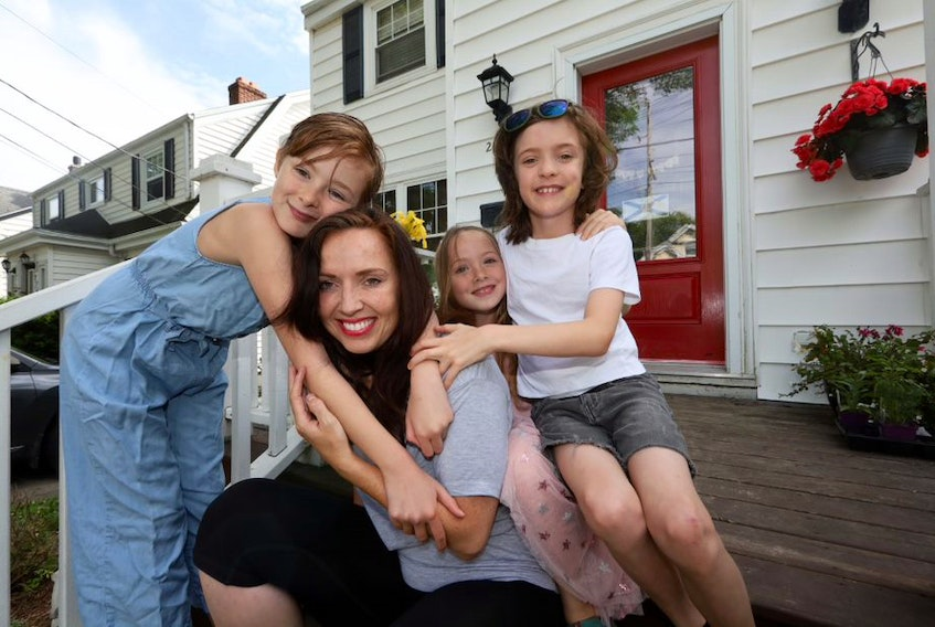 Frazzled mom Sarah Arsenault of Halifax with her three children Aria, 10, Bea, 7 and Eli, 9.