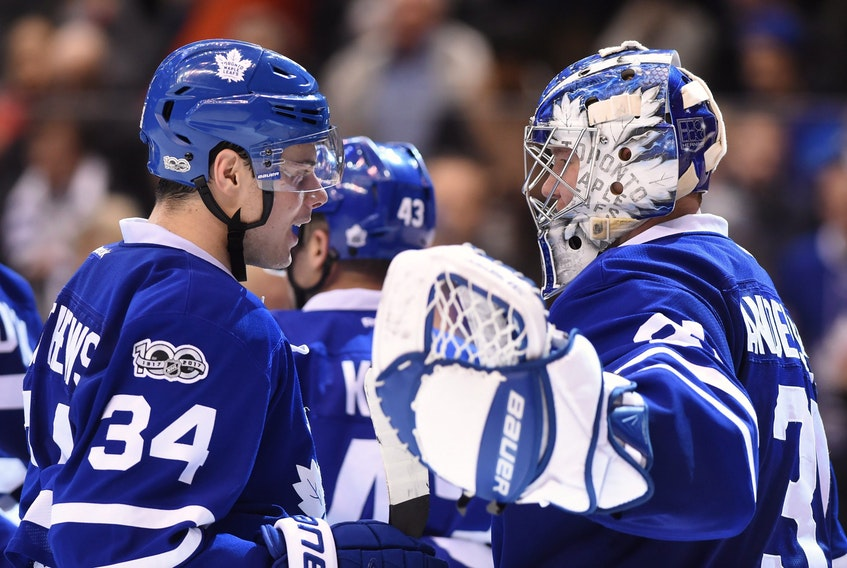 Maple Leafs' Auston Matthews (left) and goalie Frederik Andersen are set to return to the lineup on Wednesday night to face the Oilers in Edmonton.