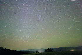 Mid-October is the time of year for the Orionids Meteor Shower. Over a dozen meteors were caught in successively added exposures over three hours in this October 2006 photo shared with NASA by Tunc Tezel taken near Bursa, Turkey. Multiple brilliant meteor streaks can all be connected to a single point in the sky just above the belt of Orion, called the radiant. The Orionids meteors started as sand-sized bits expelled from Comet Halley during one of its trips to the inner solar system. - TUNC TEZEL, courtesy of NASA