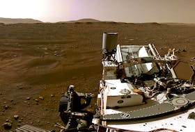 A portion of a panorama made up of individual images taken by the Navigation Cameras, or Navcams, aboard NASA's Perseverance Mars rover shows the Martian landscape Feb. 20. - NASA/JPL-Caltech/Handout via REUTERS