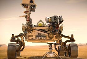 Artistic rendition of the Perseverance rover and Ingenuity helicopter-drone on Mars. - NASA/JPL-Caltech