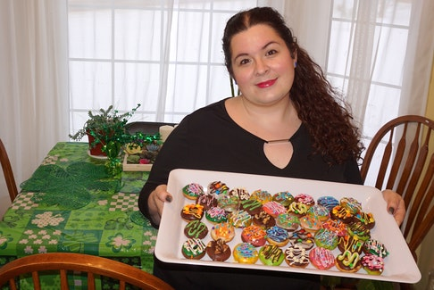 Elizabeth Ezekial shows off some mini doughnuts she made recently. Originally from Corner Brook, NL, Ezekial now lives in Mount Stewart, PEI, and has been teaching herself how to bake stunning creations.