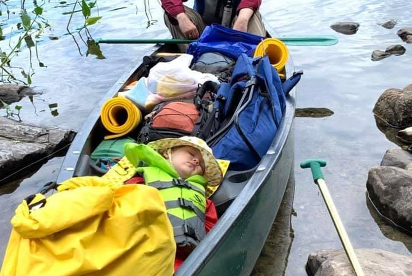 Mark Gruchy and his daughter, Charlotte, during 10-day trip to Kejimkujik National Park, NS, in August 2019. For young children, canoes, like cars, are great places to nap.