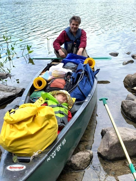 Mark Gruchy and his daughter, Charlotte, during 10-day trip to Kejimkujik National Park, NS, in August 2019. For young children, canoes, like cars, are great places to nap.  - Contributed