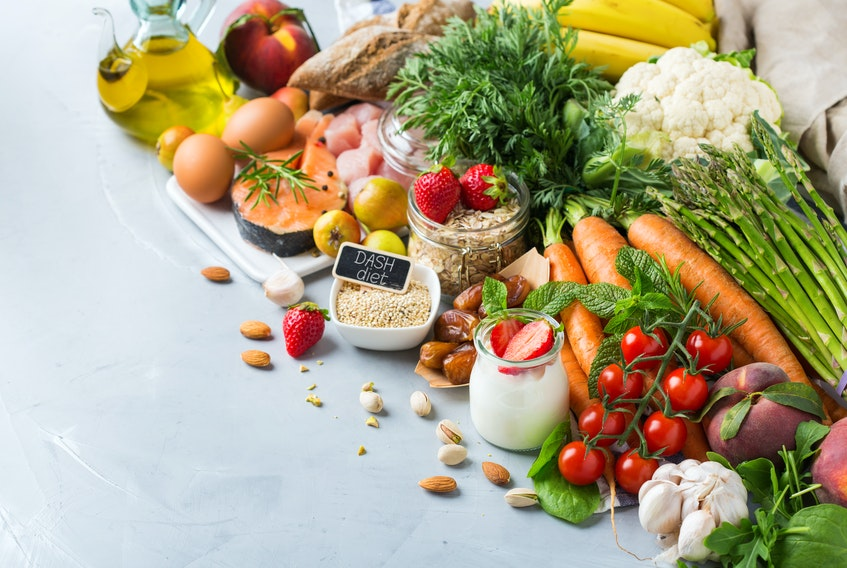 The DASH diet has a strong emphasis on vegetables, fruits, and whole-grains and includes fat-free or low-fat dairy products, fish, poultry, beans, nuts, and vegetable oils.