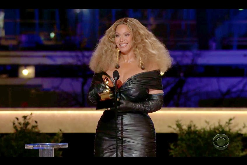 """Beyoncé wins the Grammy for Best R&B Performance for """"Black Parade"""" in this screen grab taken from video of the 63rd Annual Grammy Awards in Los Angeles March 14. CBS/Handout via REUTERS"""
