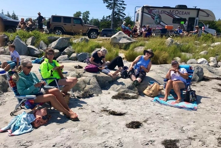 Becky Williams, owner of Becky's Knit and Yarn shop in Lockeport, N.S. has been offering socially distanced knitting sessions at the Lockeport Beach. Knitting can be done anywhere, anytime, while enjoying the simple pleasures of life Mother Nature has to offer us during these unprecedented times.