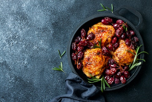 Roast chicken thighs deliver rich, succulent flavours to a one-pot dish. - 123RF STOCK PHOTO