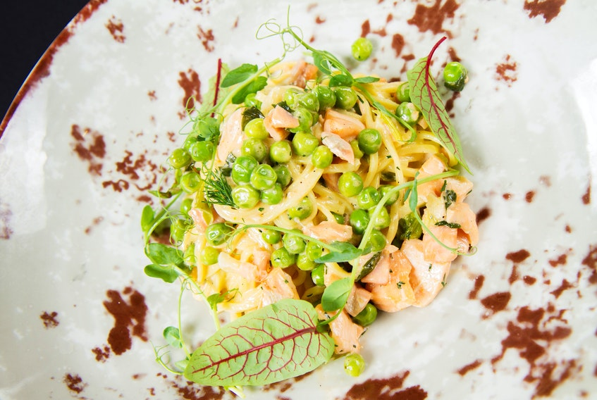 Salmon, Pea, and Asparagus Pasta is both easy to make and light on the palate, making it a perfect springtime pasta dish.