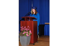 Charlotte Linkletter gave the valedictorian address at the 58th annual graduation ceremony at Kinkora High School in P.E.I.