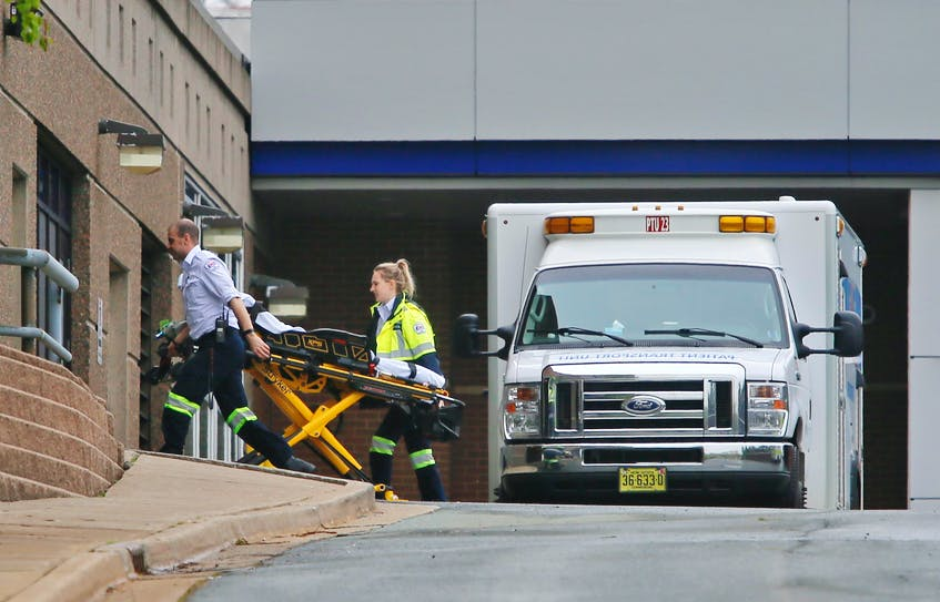 In this file photo, an EHS ambulance crew arrives with an empty stretcher at the Halifax Infirmary. - Tim Krochak