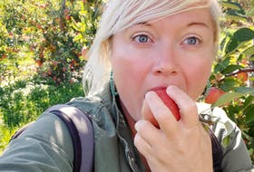 Tiffany Thornton tastes one of the apples from Noggins in the Annapolis Valley. The farm has a u-pick with 16 varieties of apples.