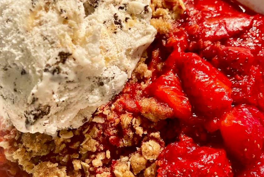 Samantha Blizzard, a registered dietitian with the Atlantic Superstore in Charlottetown and Montague, P.E.I., says to use summer produce and turn it into something like this strawberry crumble. CONTRIBUTED