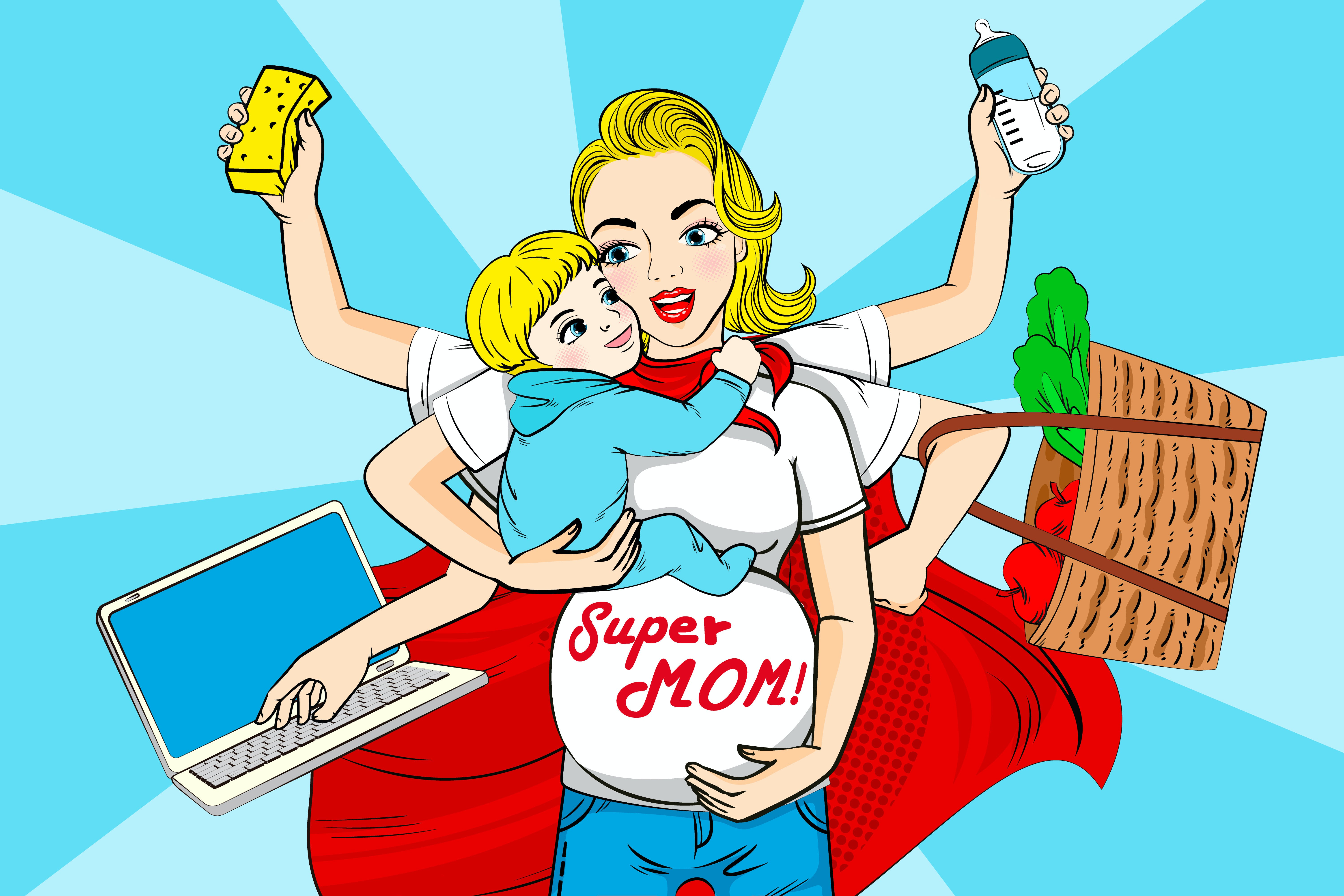 """""""The image of super mom - in high heels, wearing a business suit, with a briefcase in one hand and a baby in the other arm, has set us up for impossible standards. She is a fictional character, a mythological creature who never existed and has no place in the twenty-first-century mothering world,"""" says Lisa Pinhorn."""