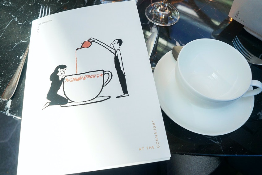 The cover of the afternoon tea menu at Jean-Georges at The Connaught in London says as much about the restaurant as the description of the sandwiches. What will the menu look like post-pandemic? GABBY PEYTON PHOTO