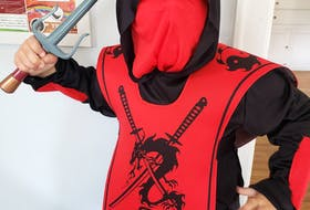 Seven-year-old Max Yorke of Kentville, N.S. is dressing as a ninja this year for Halloween. As his mother Gillian says, this costume already has a conveniently built-in mask, and is actually required to play the part.