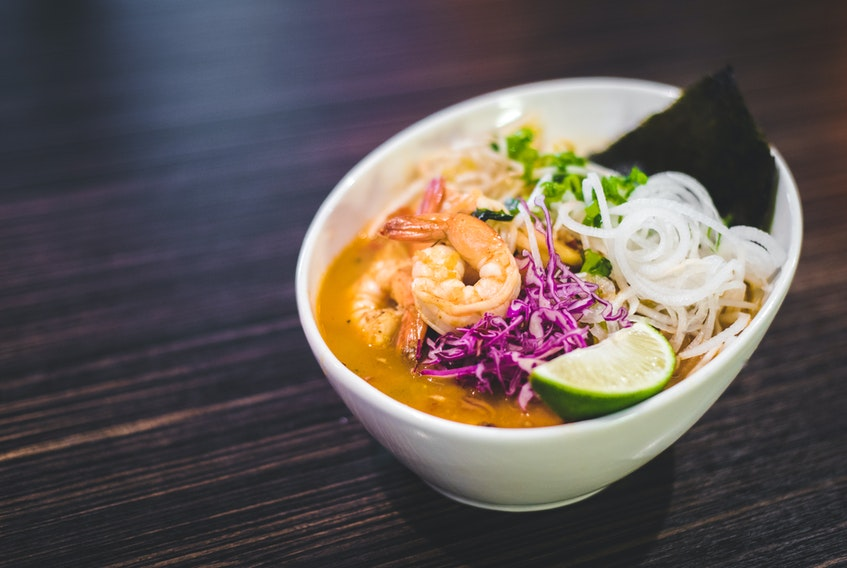 This kimchi shrimp ramen is one of the popular dishes on the menu at Bad Bones Ramen in St. John's, NL.