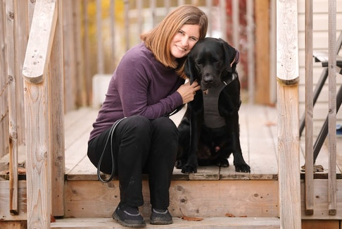 """Shelley Adams from Halifax received her third guide dog last September, a Labrador named Rookie. """"I am putting my total trust in Rookie to keep me safe, especially when we leave the house,"""" she says."""