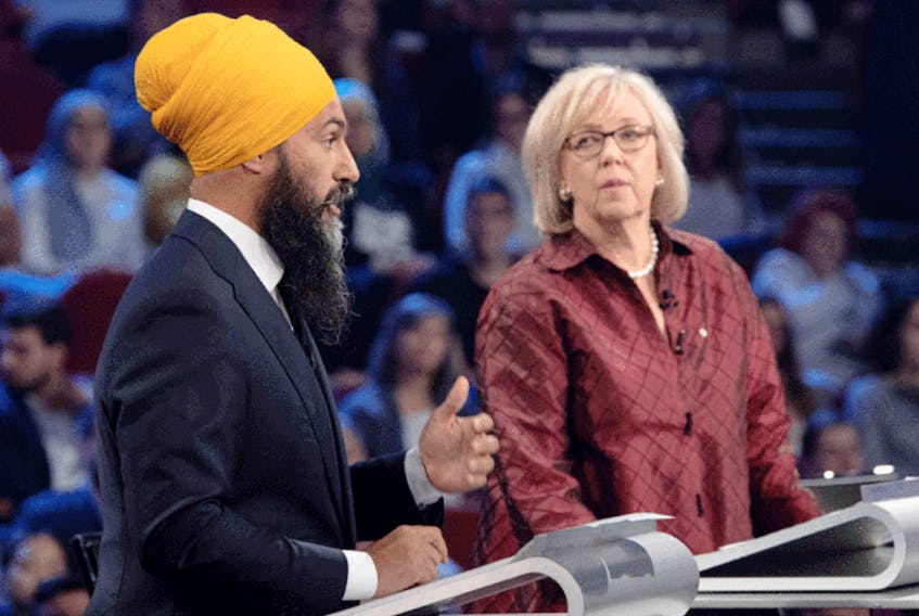 NDP Leader Jagmeet Singh and Green Party Leader Elizabeth May take part in a French-language leaders debate in Gatineau, Que. on Oct. 10, 2019.