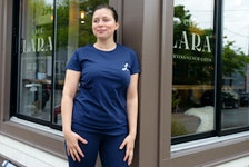 Lara Cusson, owner of Cafe Lara, poses for a photo outside her Agricola Street cafe on Friday, June 5, 2020. Ryan Taplin - The Chronicle Herald