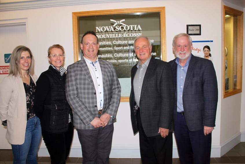 Representatives from multiple Annapolis Valley-based municipal units and the provincial government gathered at the office of the Department of Communities, Culture and Heritage in Kentville after the government recently announced funding for a project to help recruit and retain physicians in the Valley. Pictured, from left, is Town of Middleton CAO Jennifer Boyd, Jodi MacKay, deputy mayor of the Town of Wolfville, Annapolis Valley Chamber of Commerce vice president Mark Vardy, Kings West MLA Leo Glavine, provincial minister of Communities, Culture and Heritage and Kings South MLA Keith Irving. PAUL PICKREM