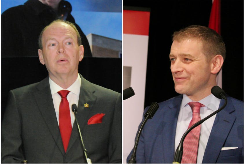 Liberal leadership candidates John Abbott (left) and Andrew Furey (right)